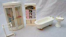 1:12th SCALE 5 PIECE DOLLS HOUSE WHITE BATHROOM SET
