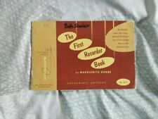 The First Recorder Book Marguerite Dubbe Vintage Sheet Music Book