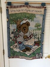 Boyds Bears Love Letters Wall Hanging Tapestry 26x36 Wallhanging Gift Cute Rare
