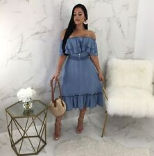 Women off shoulder ruffled casual club party denim midi dress