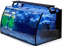 Curve Glass Fish Aquarium Tank Starter Set Kit 8 Gallon LED Pet Fresh Water