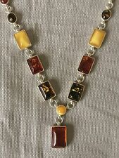 """Oval/Bar Multi-Color Amber Drop Necklace 18"""" Long Sterling"""