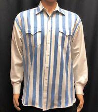VTG Panhandle Slim Western Shirt Mens Large Blue White Stripe Cowboy USA Made
