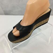 9921a771f0 NINE WEST Alyssa Sz 6 M Black Leather Cork Wedge Heel Shoes Open Shoe Slip  on