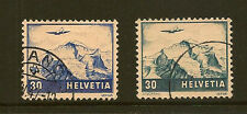 SWITZERLAND :1941 -8 Air 30c both shades  SG415 /415a fine used