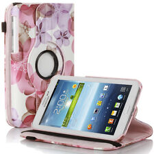 Rotating Flower Pattern PU Leather Case For Samsung Galaxy Tab 3 7.0 P3200 Pink