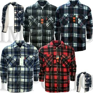 MENS PADDED SHERPA LINED LUMBERJACK FLANNEL WORK WARM THICK COLLAR SHIRT UKS-5XL