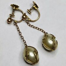 Pearl Screw Drop Earrings Stunning Yellow Gold Baroque