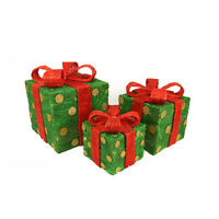 Set of 3 Lighted Sparkling Green W/ Red Bows Gift Boxes Christmas Decorations