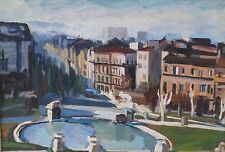 City Fountain & Buildings Oil Painting-1960s-Israel Louis Winarsky