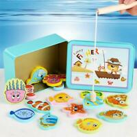 Wooden Magnetic Fish Toys Kids Educational Fishing Magnet Puzzle Game Baby Gifts