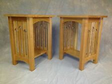 MISSION ARTS & CRAFTS SOLID CHERRY END STAND WITH SIDE SLAT CUTOUTS