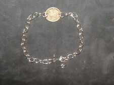 Dime Link Silver Coin Charm Bracelet Vintage Antique Usa Stainless Steel Mercury