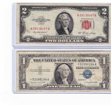 1957 $1-Silver-Certificate-STAR-NOTE & 1953 $2 Red seal lot of 1 each in holder