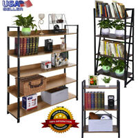 Adjustable 5-Shelf Wood Bookcase Storage Shelving Book Wide Bookshelf Furniture