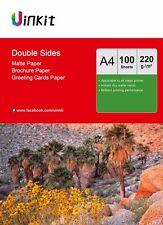 A4 Double Sides Matte Photo Paper Inkjet Laser Jet Printer 220Gsm - 100 Sheets
