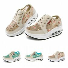 Womens Floral Fitness Walking Shape Ups Shoes Breathable Wedge Sneakers Sports L