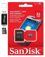 SanDisk 32GB 32G MicroSDHC MicroSD TF Flash Memory Card w Adapter & Card Reader