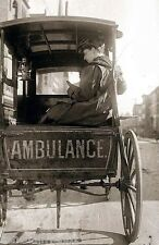 Vintage Horse Drawn  Ambulance with Nurse Old New York City photo 1902