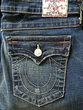 Womens True Religion Joey Jeans 31X33 Boot Cut Twisted Seams Factory Distressed
