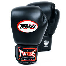 Twins Boxing Gloves Adult Black MuayThai Kickboxing Sparring Gloves 10 12 14 16