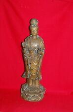 Antique Chinese Bronze QuanYin Kwan-Yin Lotus  Buddha Statue