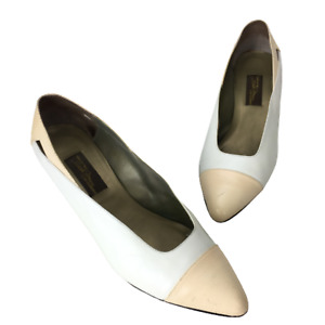 Vintage Sesto Meucci Kitten Heel Shoes Womens 10AA White and Beige Pumps Cap Toe