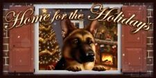 """German Shepherd Home for the Holidays """"Paws on the Windowsill"""" Dog Sign Plaque f"""