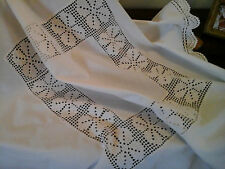 Antique French Metis Linen Tablecloth/Dresser Scarf -Hand Crochet Lacework-84cm