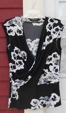 Ellen Tracy Black/White Sleeveless Faux Wrap Polyester/Spandex Blouse Sz Medium
