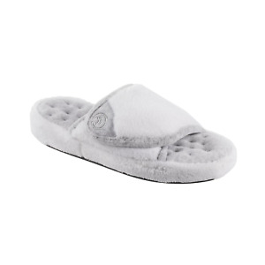 ISOTONER SIGNATURE White Microterry Pillowstep Adjustable Slide Slippers