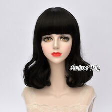 40CM Lolita Heat Resistant Black Party Women Curly Bang Hair Fashion Cosplay Wig