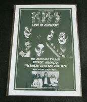 KISS : LIVE IN CONCERT DETROIT 1974 : A4 GLOSSY REPO POSTER