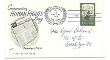 UN NY #30 8 cent, Human Rights Day 1954, Fleetwood, addressed, FDC