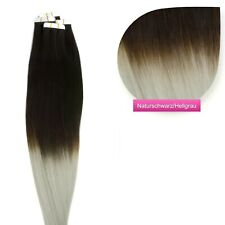 Remy Echthaar Tape In On Extensions 2,5g Tresse # 1b/grau ombre  50 cm