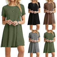 Womens Fashion Summer Short Sleeve Solid Mini T Shirt Casual Loose Tops Dress