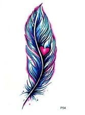 BLUE FEATHER Temporary Tattoo Pink 💙 Adult Body Art Transfers Small 9x6 Cms