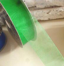 Rebajas 70%, 20 metros, cinta, regalo de banda, organza, verde, 25 mm, 0,26 € por metro