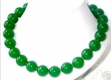 """18"""" Imperial Natural Green Jade 16mm Round Beads Necklace AAA"""