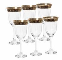 Italian Collection Crystal 12 Oz Wine Goblet Glasses, 24K Gold Rim