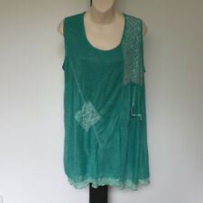 'GLORY' EC SIZE '14' GREEN SLLEVELESS LONG TEXTURED LACE CRINKLE LINED TOP