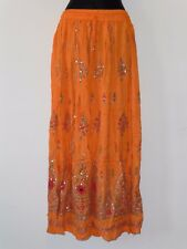 femmes indien bollywood sequin & imprimé floral froissé jupe - Orange