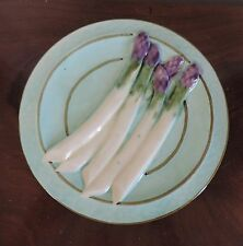 Vintage French Relief Molded Majolica Asparagus Plate FFAS Made in France