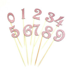 10pcs DIY Glitter 0-9 Numbers Cake Topper Cupcake Picks For Kids Birthday Pa JX