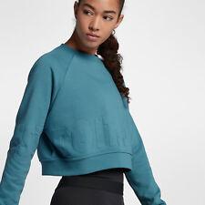 Nike Women's Long Sleeve Training Top L Blue Terry Sweatshirt Gym Casual JDI New