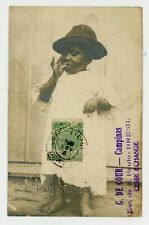 Brazil Postcard 1904 RPPC Photograph Child Smoking St. Paulo Posted to France