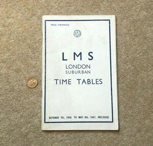 1947 LMS London Suburban Time Tables Paper Booklet Train Railway Info #T