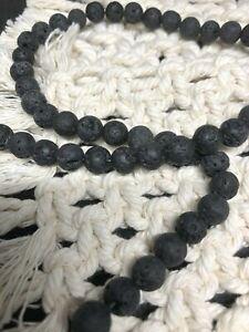 8 mm Round Black Natural Genuine Lava Rock Diffuser Beads Full Strand 47 beads