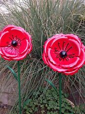Poppy Remembrance Day Metal Garden Ornament Stake 1 poppy