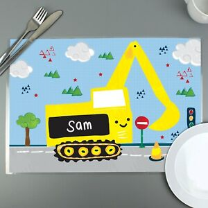 PERSONALISED Children's Laminated Table Placemat - Digger . Child's, Kids, Boys.